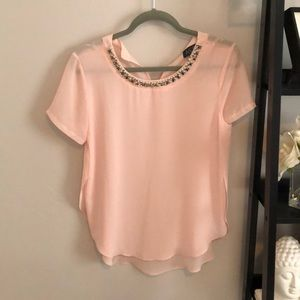 ATSR blush blouse with pearl detail